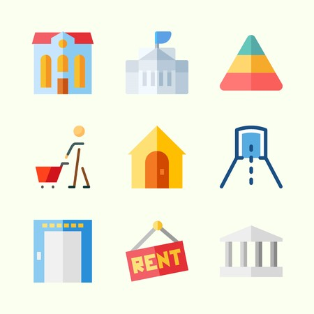 Icons about Construction with real estate, for rent, white house, elevator, shopping and monumental Иллюстрация