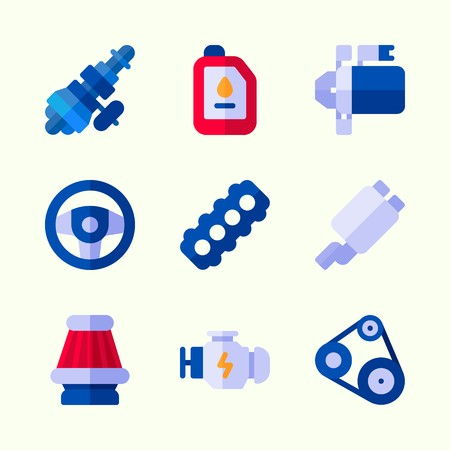 Icons about car engine with steering wheel, motor, air filter, distribution, engine and belt.