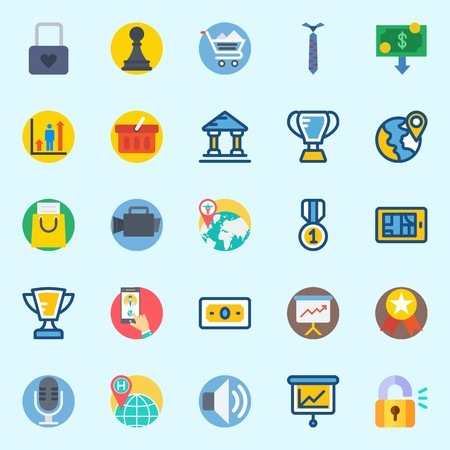 icons set about Digital Marketing. with plane, shopping basket, volume, video camera, pawn and microphone