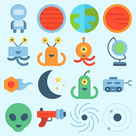 icons set about Universe. with alien, blaster, earth glope, mars, moon rover and astronaut