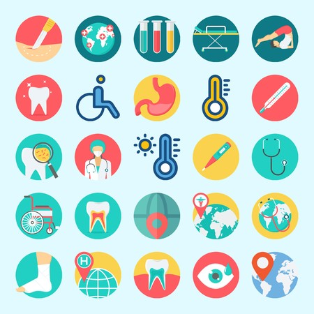 Icons set about Medical with surgeon, stomach, stretcher, location, yoga and worldwide