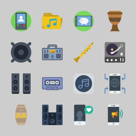 Icons about Music with speaker, cassette, radio, music file, turntable and announcer Vettoriali