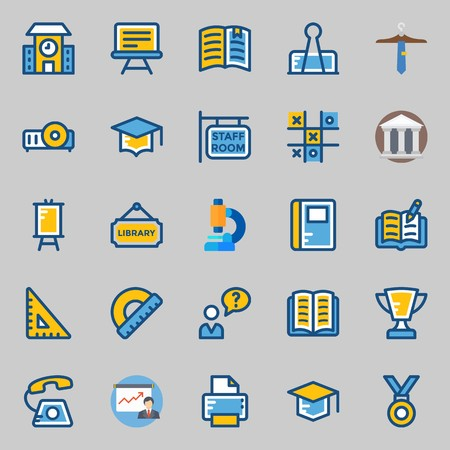 icons set about School And Education. with tic tac toe, printer, mortarboard, trophy, tie and open book