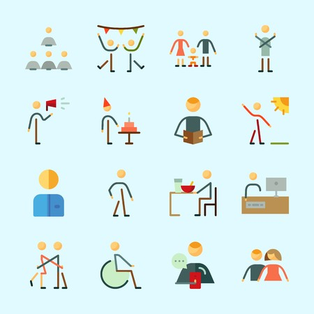 Icons about Human with male, disable, family, humans, dancer and worker