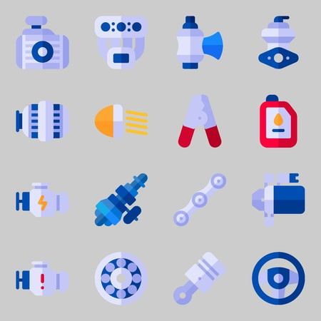 Icons set about Car Engine. with radiator, starter and engine Illustration
