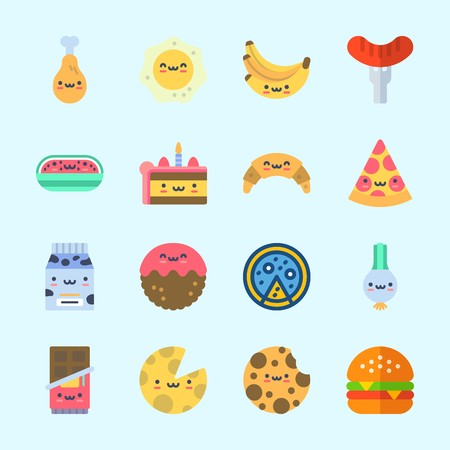 Icons about food with bananas, chicken leg, hot dog, watermelon, cheese and meatball. Çizim