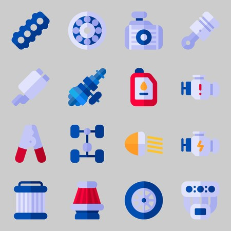 Icons set about Car Engine. with chassis, distribution and car lights