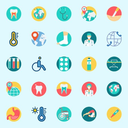icons set about medical. with test tubes, location, stethoscope, worldwide, stomach and tooth. Illustration