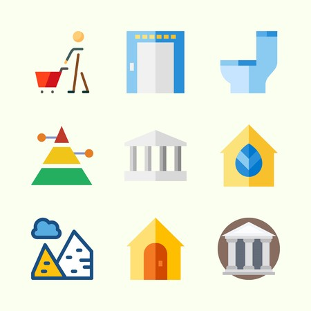 Icons about Construction with museum, shopping, elevator, pyramids, pyramid and monumental Иллюстрация