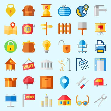 Icons about Real Assets with rent, printer, monumental, maps and flags, skyline and elevator
