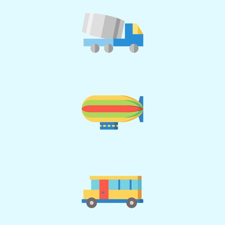 Icons about Transportation with truck, bus and zeppelin Stok Fotoğraf - 98211167