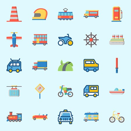 icons set about Transportation. with bicycle, cable car, car, taxi, cone and cruise ship