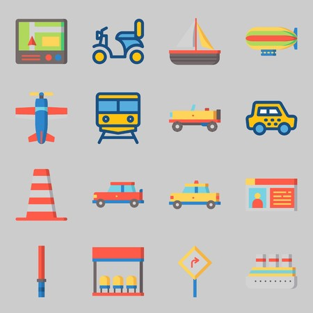 Icons set about Transportation. with plane, train and sail boat