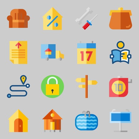 Icons set about Real Assets. with maps and flags, real estate and sit down