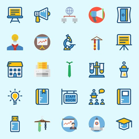 icons set about School And Education. with pendrive, tie, idea, school, printer and sharpener