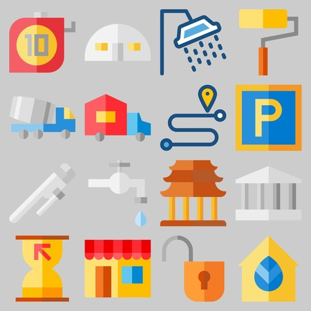 Icon set about real assets with keywords religious, paint roller, truck, online store and route. Illusztráció