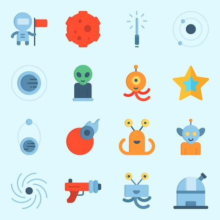 icons set about Universe. with star, alien, black hole, astronaut, observatory and blaster Illustration