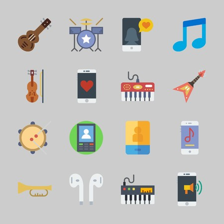 Icons about Music with drum set, earphones, trumpet, guitar, piano and electric guitar 版權商用圖片 - 104628495