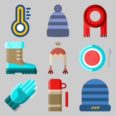 Icons set about Winter with boot, thermometer, soup, scarf, winter hat and gloves