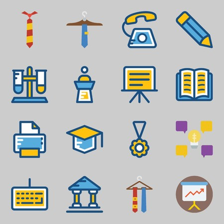 Icons set about School And Education. with keyboard, lecture and tie