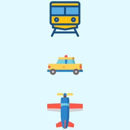 Icons about Transportation with train, plane and taxi