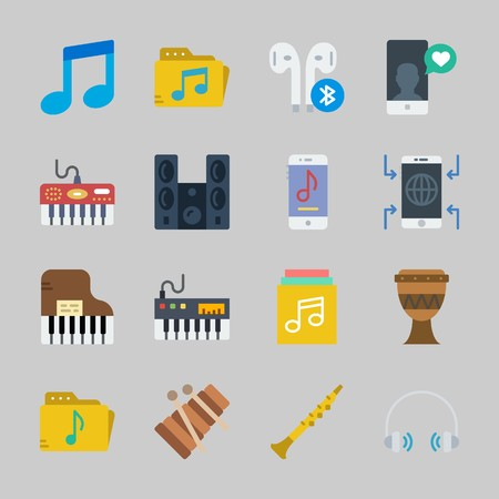 Icons about Music with oboe, smartphone, headphone, music player, piano and sound system