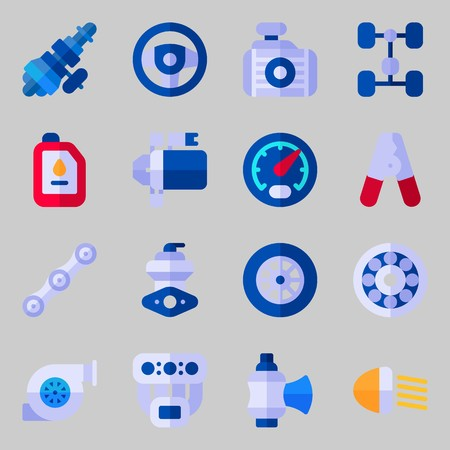 icons set about Car Engine. with wheel, radiator, oil, chain, distribution and gauge Illustration