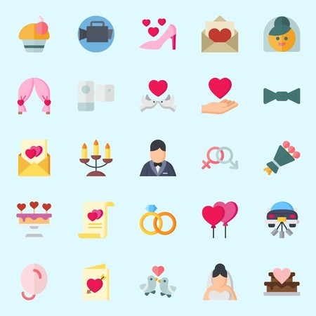 Icons set about wedding with love birds, camcorder, wedding cake, wedding rings, video camera and genders.