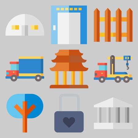 Icons set about real assets with trees, truck, building and elevator.