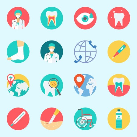 icons set about Medical. with surgery, location, teeth, tooth, visibility and thermometer Illustration