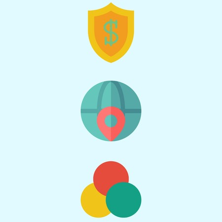 Icons about Marketing with shield, worldwide and rgb