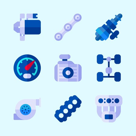 Icons about Car Engine with radiator, motor, chassis, chain, manifold and gauge Illustration