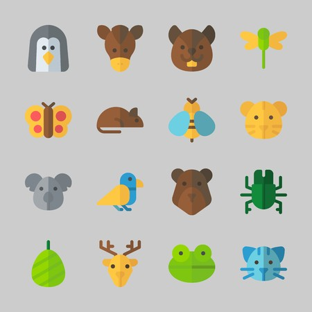 Icons about animals with horse, penguin, dragonfly, deer, frog and bear. Çizim