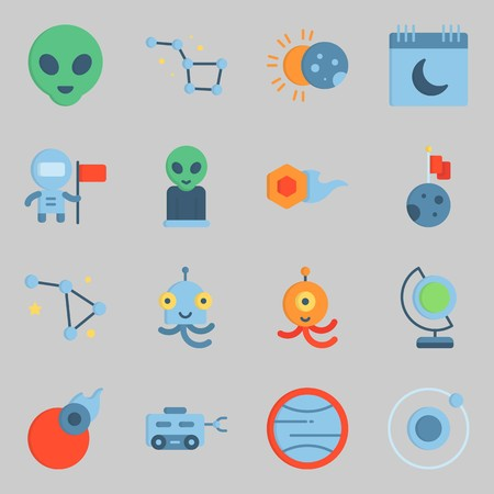 Icons set about Universe. with moon rover, astronaut and eclipse