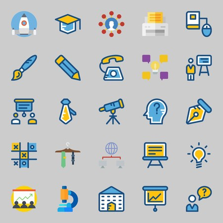 icons set about School And Education. with pen, paint brush, tic tac toe, tie, telescope and printer