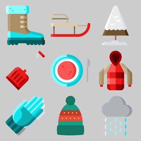Icons set about Winter with gloves, sleigh, winter hat, snow, parka and pine