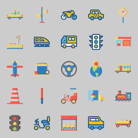 icons set about Transportation. with bike, locomotive, bus, bus stop, truck and motorbike