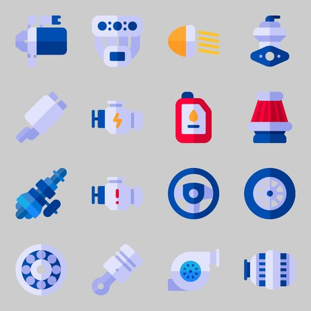 icons set about car engine with distribution, motor, oil, manifold, engine and piston.