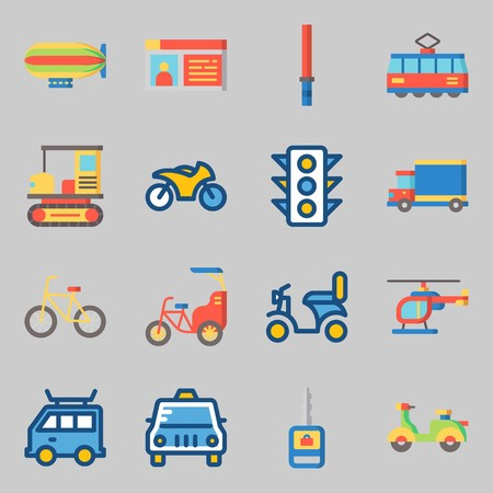 Icons set about Transportation. with bike, driving license and bicycle