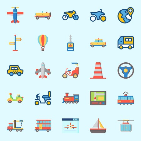 Icons about Transportation with plane, double decker, bike, direction sing, sail boat and steering wheel Ilustração