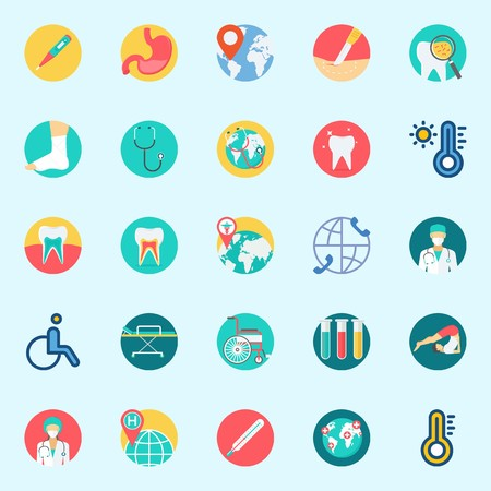 icons set about Medical. with surgeon, location, surgery, wheelchair, sprain and teeth