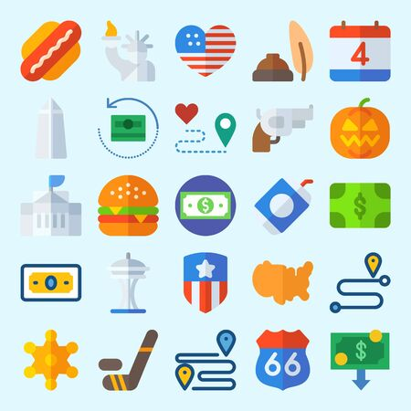 icons set about United States. with independent day, washington monument, route, location, space needle and hamburger