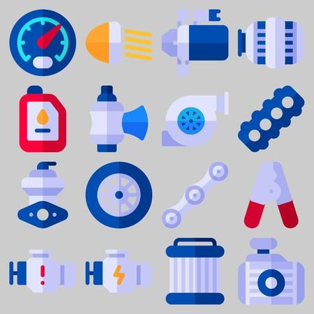 Icon set over automotor met trefwoorden pilers, radiator, meter, motor, wiel en olie Stock Illustratie