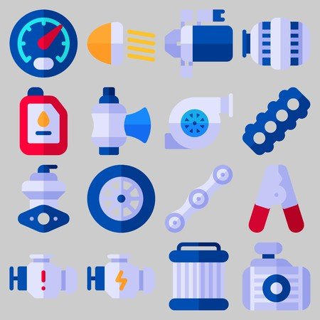Icon set about Car Engine with keywords pilers, radiator, gauge, engine, wheel and oil