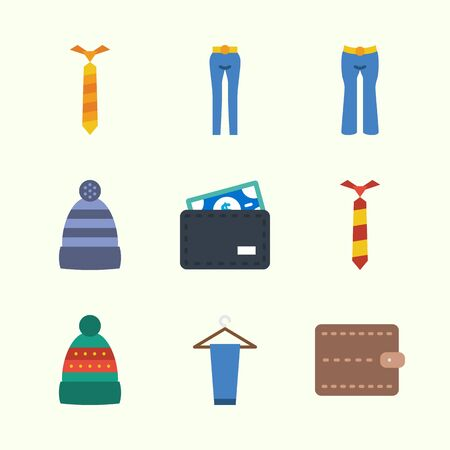 Icons about Man Accessories with winter hat, trousers, wallet and tie