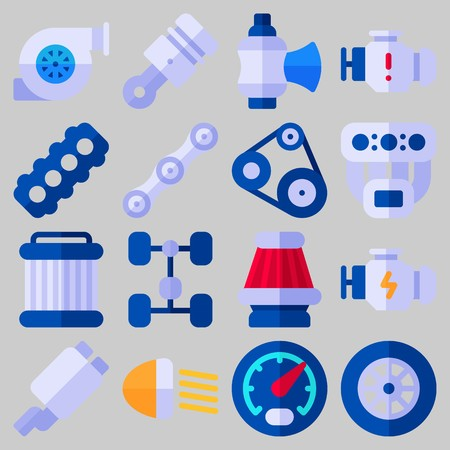 Icon set about Car Engine with keywords chain, exhaust pipe, belt, gauge, motor and engine Illustration
