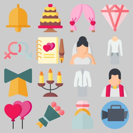 Icons set about Wedding. with wedding arch, genders and wedding cake Illustration