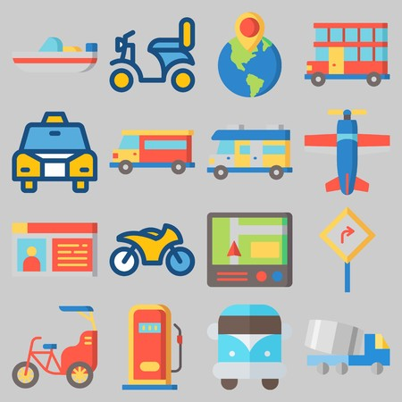Icon set about Transportation with keywords destination, boat, motorbike, bike, bus and driving license Illustration