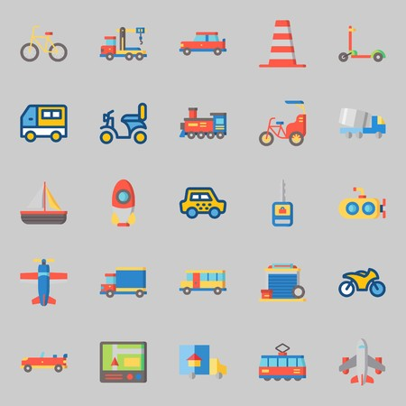 icons set about Transportation. with crane, airplane, cone, bike, motorbike and car key