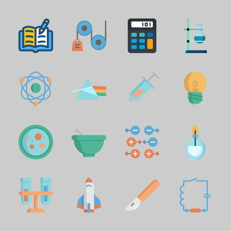 Icons about Science with petri dish, rocket ship, gravity, atom, flasks and calculator Stock Illustratie